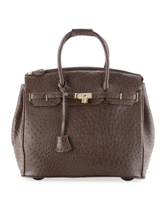Kendall Ostrich Embossed Faux Leather Rolling Bag, Dark Brown