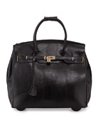 Kendall Ostrich-Embossed Rolling Bag, Black