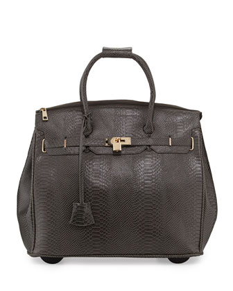 Ainsley Snake-Embossed Rolling Bag, Gray