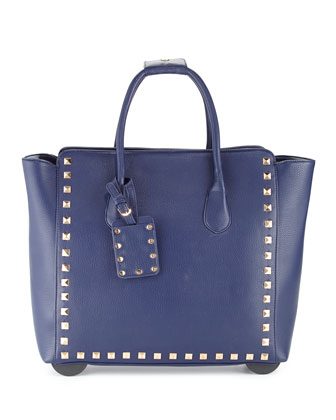 Harlow Stud-Trim Rolling Bag, Navy