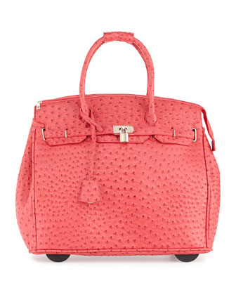 Kendall Ostrich-Embossed Rolling Bag, Red