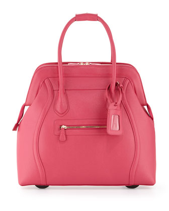 Boston Saffiano Faux-Leather Rolling Bag, Hot Pink