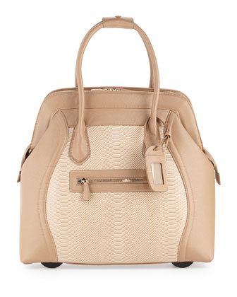 Boston Saffiano Faux-Leather Rolling Bag, Taupe