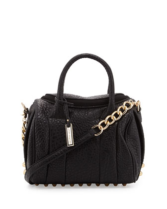 Stevie Studded Satchel Bag, Black