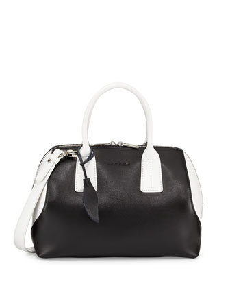 Dacey Two-Tone Leather Satchel Bag, Black/White