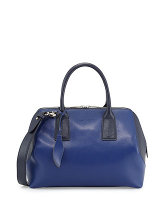 Dacey Two-Tone Leather Satchel Bag, Cobalt/Midnight