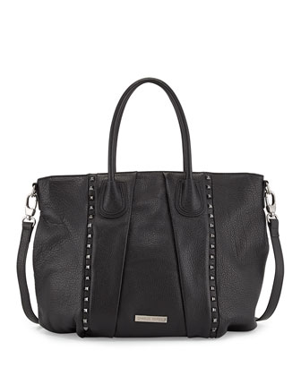 Dally Studded Leather Tote Bag, Black