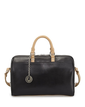 Dalton Two-Tone Leather Satchel Bag, Black/Neutral