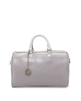 Dalton Smooth Leather Satchel Bag, Gray