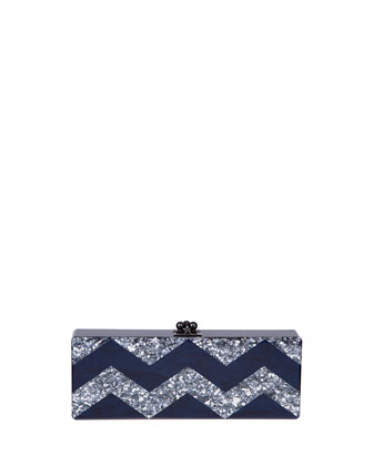 Flavia Chevron Confetti Clutch Bag, Blue/Silver