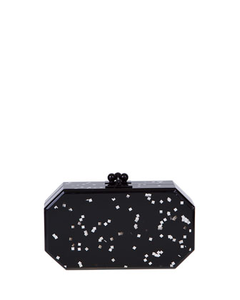 Fiona Confetti Acrylic Clutch Bag, Black
