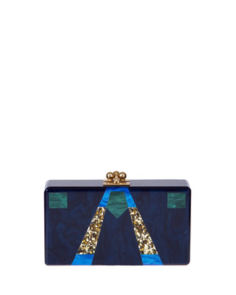 Jean Ford Acrylic Clutch Bag, Blue Multi