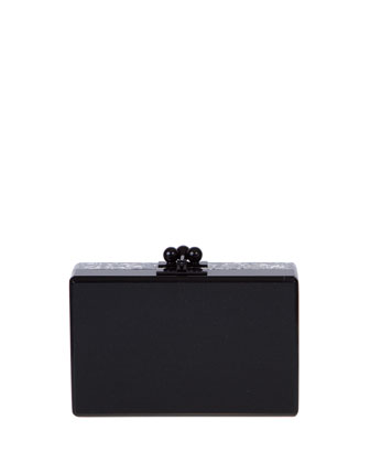 Minnie Half & Half Acrylic Clutch Bag, Black/Silver