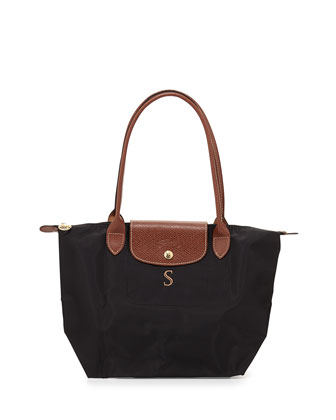 Le Pliage Monogrammed Small Shoulder Tote Bag, Black