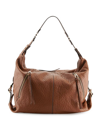Lauren Pebbled Zip Hobo Bag, Earth
