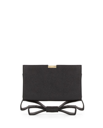 Milla Small Frame Saffiano Bow Clutch Bag, Black