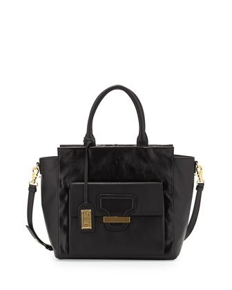 Dakota Leather Tote Bag with Strap, Black