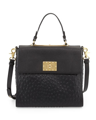 Glenda Leather Flap Satchel Bag, Black
