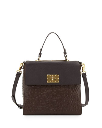 Glenda Leather Flap Satchel Bag, Espresso