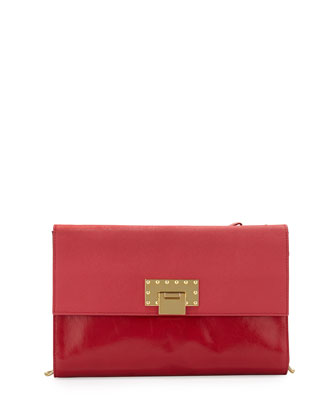 Colette Contrast Leather Flip-Lock Shoulder Bag, Cherry