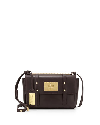 Amelia Leather Turn-Lock Shoulder Bag, Espresso