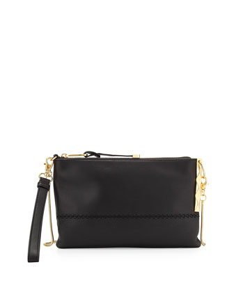 Piper Contrast Leather Pyramid Stud Shoulder Bag, Black