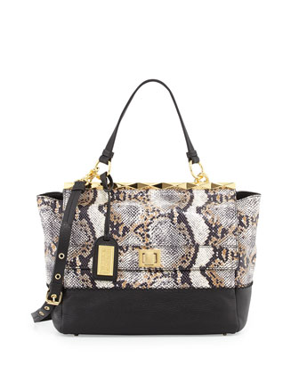 Piper Snake-Print Amazzonia Satchel Bag, Natural