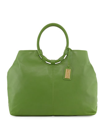 Esmeralda Leather Tote Bag, Avocado