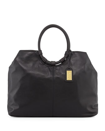 Esmeralda Leather Tote Bag, Black