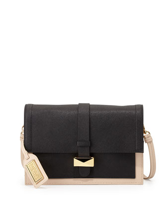 Lena Bicolor Leather Flap Bag, Black/Latte