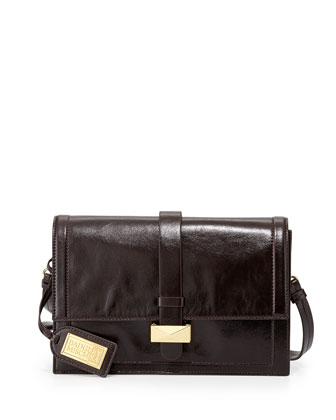 Lena Shine Leather Flap Bag, Espresso