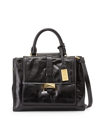 Lena Shiny Leather Tote Bag, Black