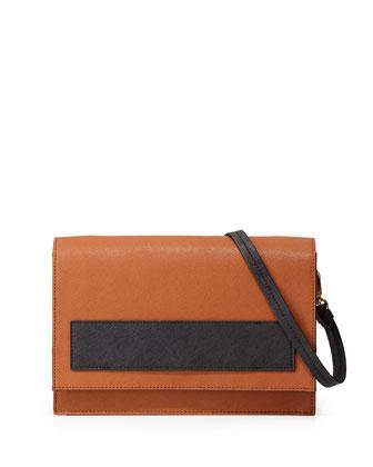 Jillian Bicolor Saffiano Satchel Bag, Cognac/Black