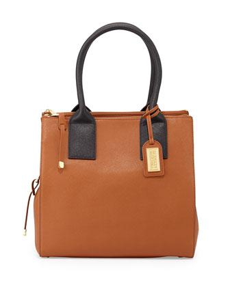 Jillian Bicolor Leather Tote Bag, Cognac/Black