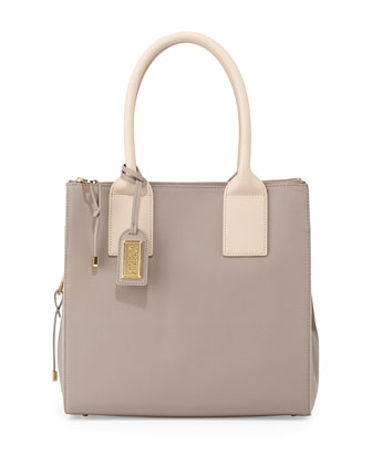 Jillian Bicolor Leather Tote Bag, Gray/Latte
