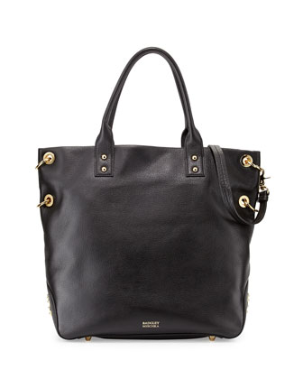 Victoria Pebbled Leather Tote Bag, Black