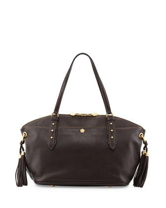 Bond Leather Tassel Satchel Bag, Chocolate