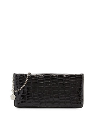 Bentley Croc-Embossed Shoulder Bag, Liquid Black
