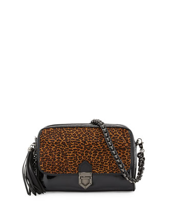 Mixed-Media Zip Pouch with Strap, Leopard/Black