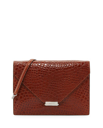 Libby Embossed Flap Bag, Cognac