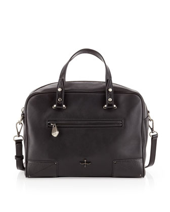 Marcelle Leather Satchel Bag, Black