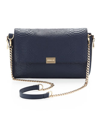 Morandia Washed Croc-Embossed Clutch Bag, Navy