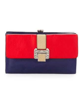 Coco Triple-Pocket Clutch Bag, Royal