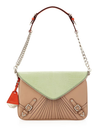 Maria Triple-Pocket Shoulder Bag, Putty