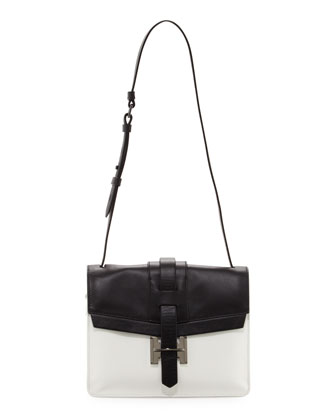 Colorblock Shoulder Bag, Black/White