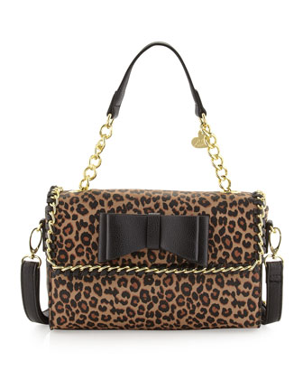 Tough Love Pebbled Mini Satchel Bag, Leopard