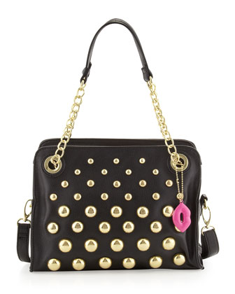 Great Balls of Fire Pebbled Satchel Bag, Black