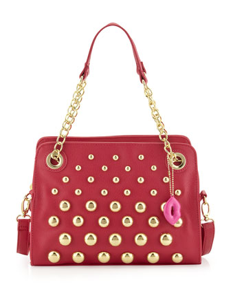 Great Balls of Fire Pebbled Satchel Bag, Fuchsia
