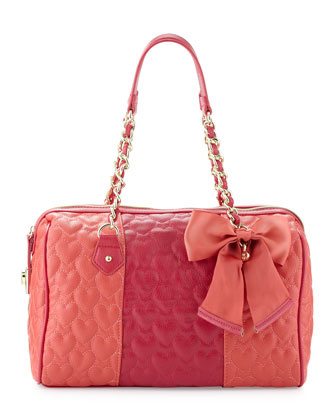 Be My Wonderful Barrel Bag, Red/Fuchsia