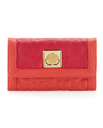 Be My Wonderful Pebbled Quilted Flapover Wallet, Red/Fuchsia